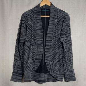 Prana blue striped sz L cardigan (935)